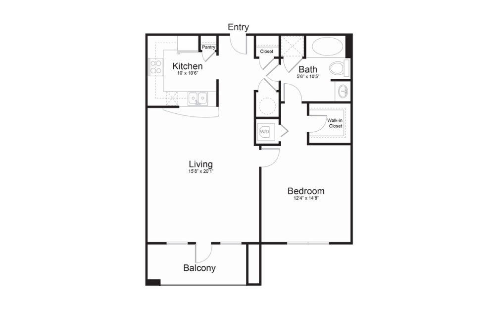 The Metropolitan - 1 bedroom floorplan layout with 1 bath and 865 square feet.