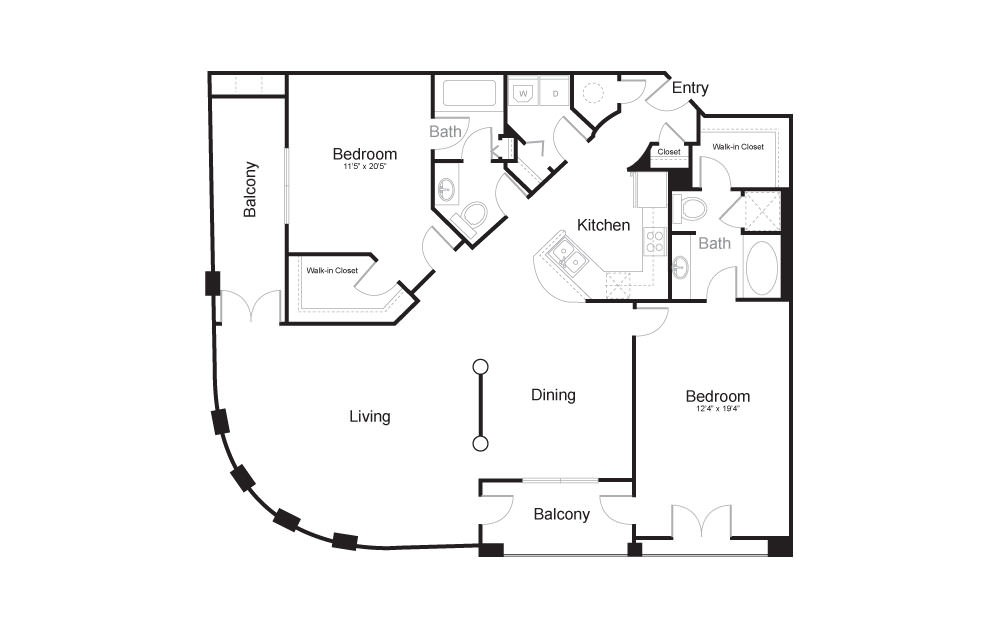 The Guggenheim - 2 bedroom floorplan layout with 2 baths and 1545 square feet.